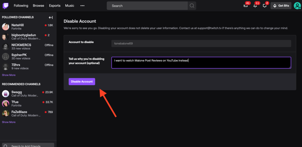 Disable Twitch Account Button